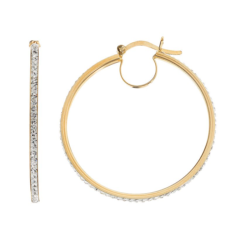 Chrystina Crystal 14k Gold Over Silver-Plated Hoop Earrings