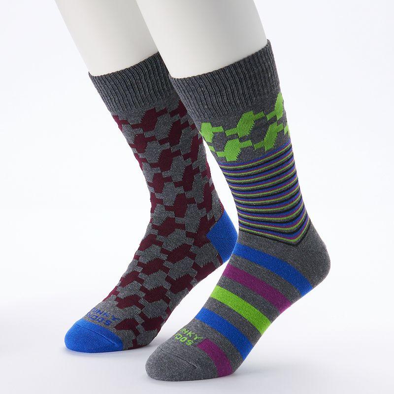 Funky Socks 2-pk Houndstooth Crew Socks - Men