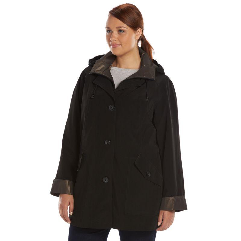 Plus Size Gallery Hooded Stadium Rain Jacket, Women's, Size: 1X, Black