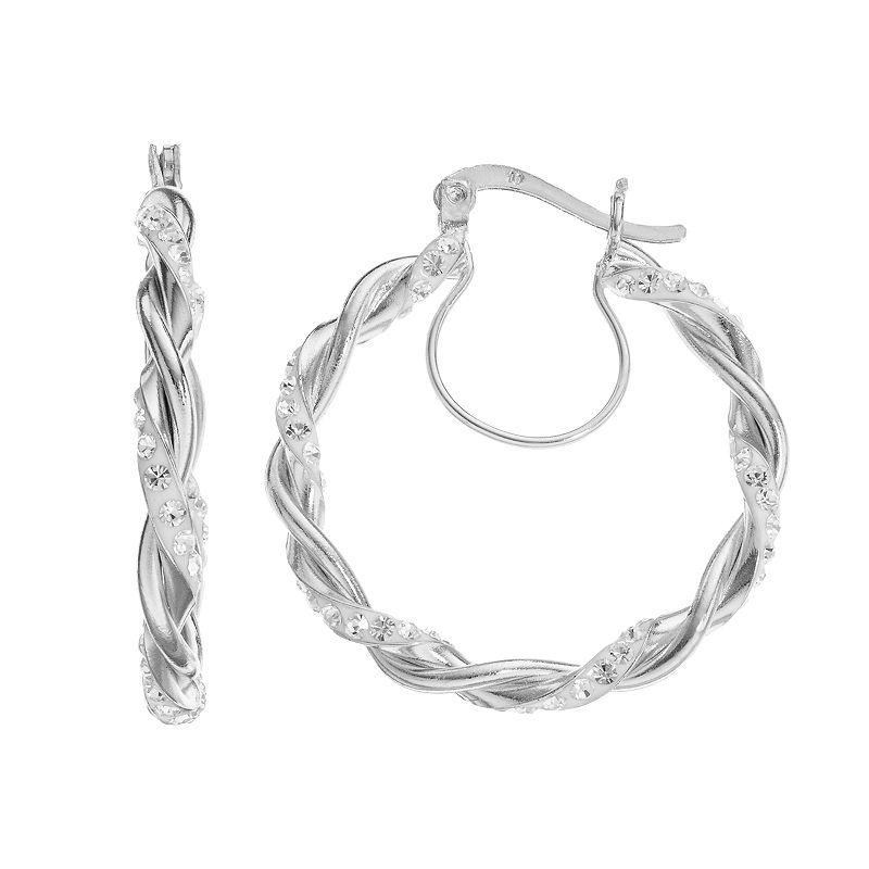 Chrystina Crystal Silver-Plated Twist Hoop Earrings