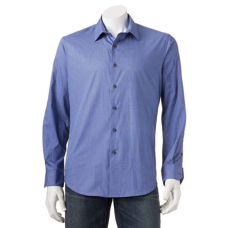 Men's Apt. 9® Modern-Fit Patterned Woven Casual Button-Down Shirt
