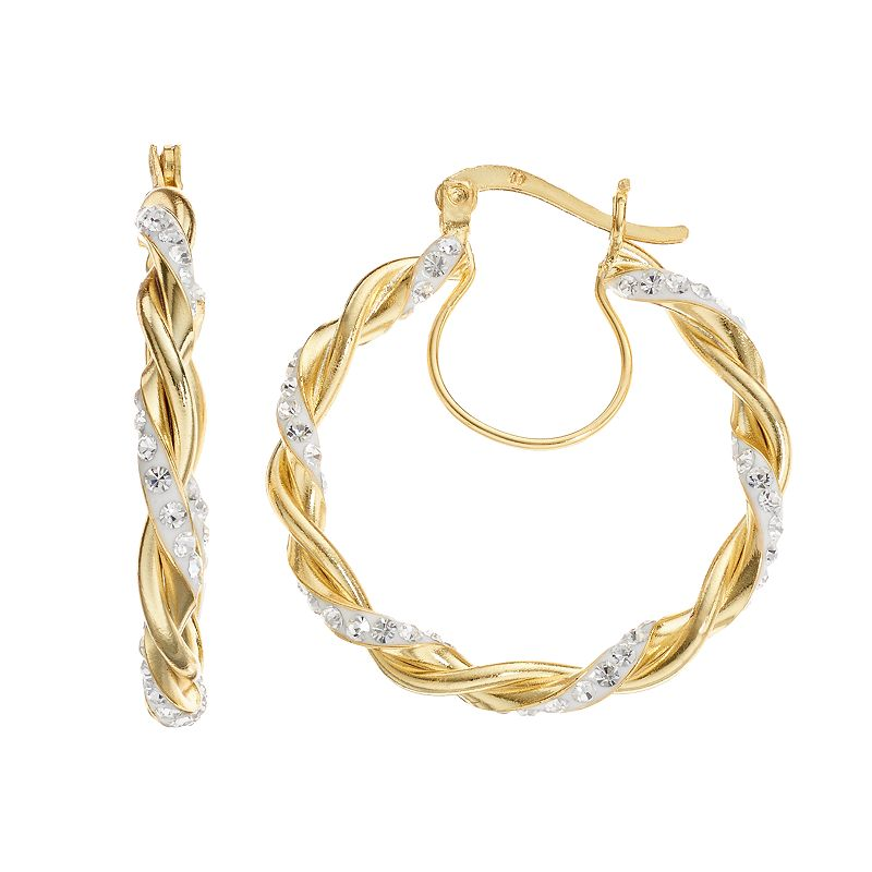 Chrystina Crystal 14k Gold Over Silver-Plated Twist Hoop Earrings