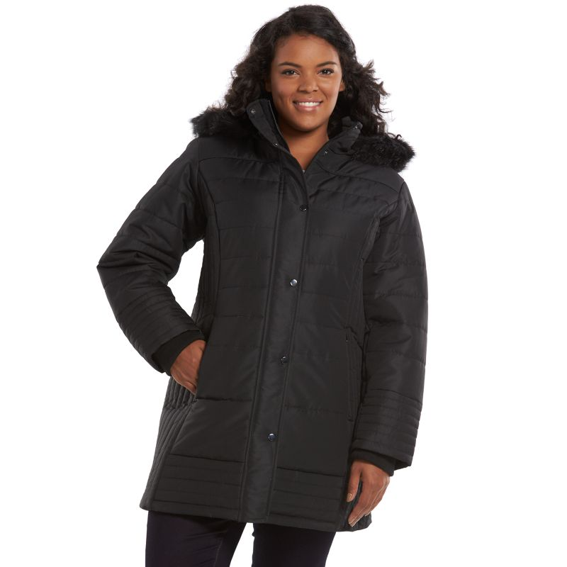 Plus Size d.e.t.a.i.l.s Hooded Puffer Jacket, Women's, Size: 1X, Black