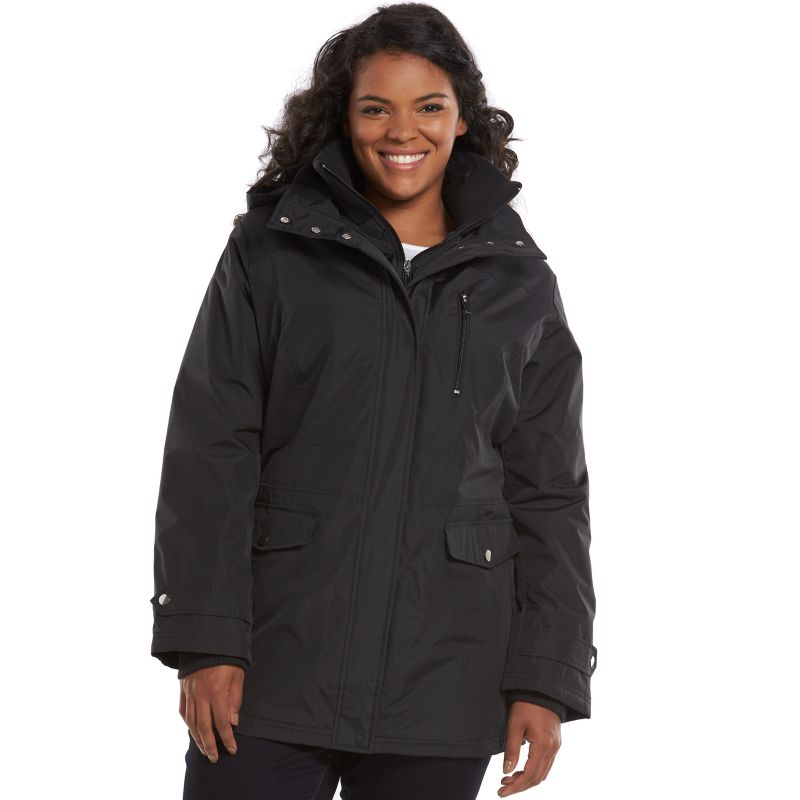 Plus Size d.e.t.a.i.l.s Radiance Hooded Jacket, Women's, Size: 1X, Black