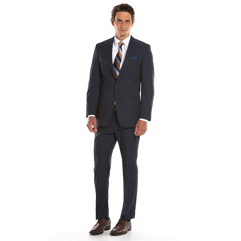 Men's Andrew Fezza Slim-Fit Navy Mini-Checked Suit Jacket
