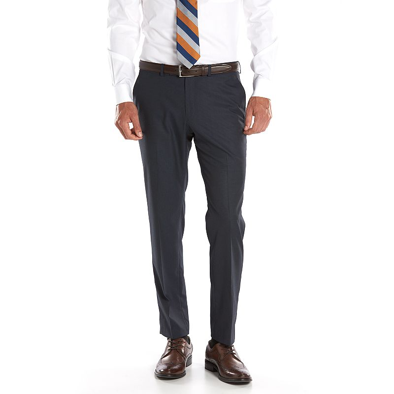 Men's Andrew Fezza Slim-Fit Navy Mini-Checked Suit Pants