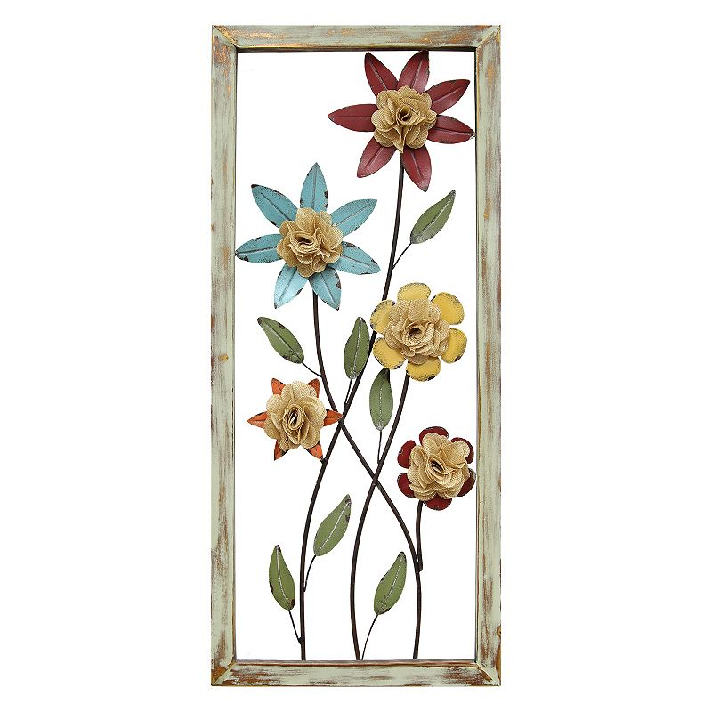 Stratton Home Decor Burlap Flower Framed Wall Decor