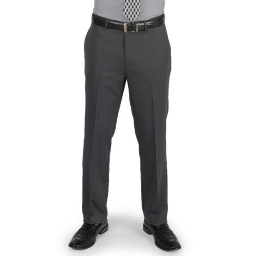 Men's Billy London Slim-Fit Chevron Gray Flat-Front Dress Pants
