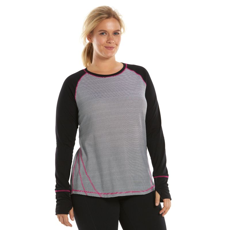 Plus Size Tek Gear DRY TEK Layering Scoopneck Workout Tee, Women's, Size: 1X, Black
