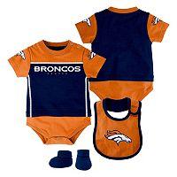 Baby Denver Broncos Lil Jersey Bodysuit, Bib & Bootie Set