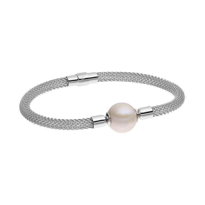 PearLustre by Imperial Sterling Silver Freshwater Cultured Pearl Mesh Bracelet