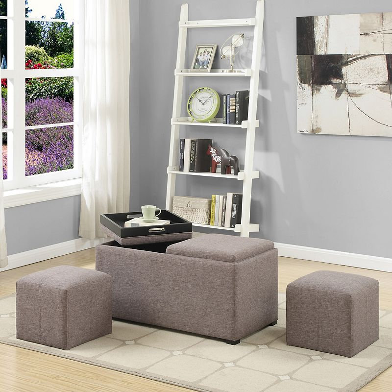 Simpli Home Avalon 5-Piece Rectangular Storage Ottoman