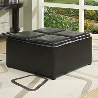 Simpli Home Avalon Coffee Table Storage Ottoman