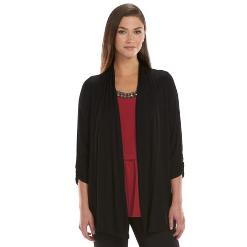 Women's AB Studio Embellished Tiered Mock-Layer Top