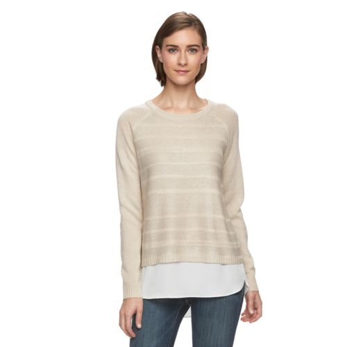 Women's AB Studio Shine Mock-Layer Crewneck Sweater
