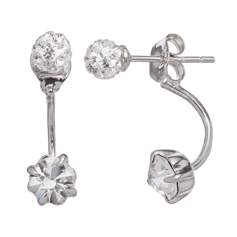 Crystal Sterling Silver Front-Back Earrings