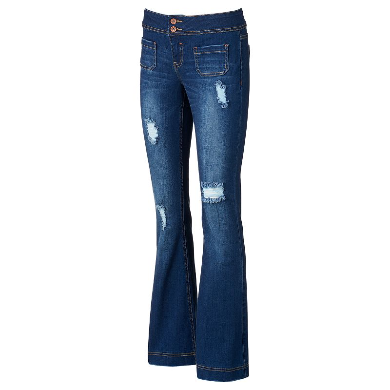 Hydraulic Emma Juniors' Destructed Flare Jeans, Size: Medium (Blue)