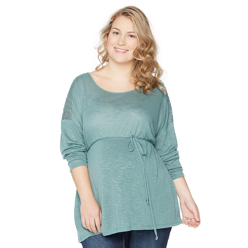 Plus Size Maternity Oh Baby by Motherhood™ Lace Dolman Sweater