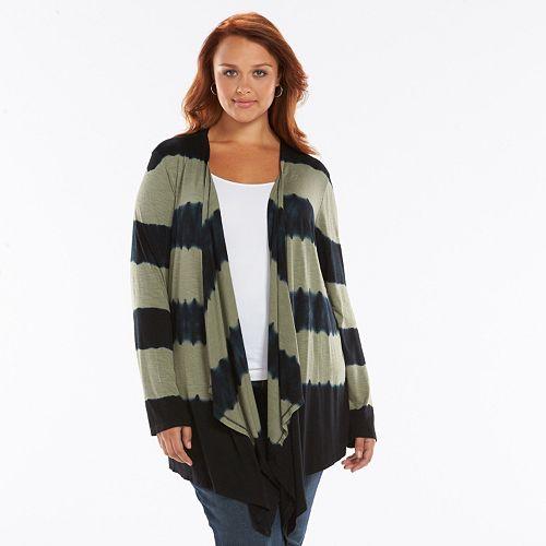 Plus Size Design 365 Striped Open-Front Cardigan
