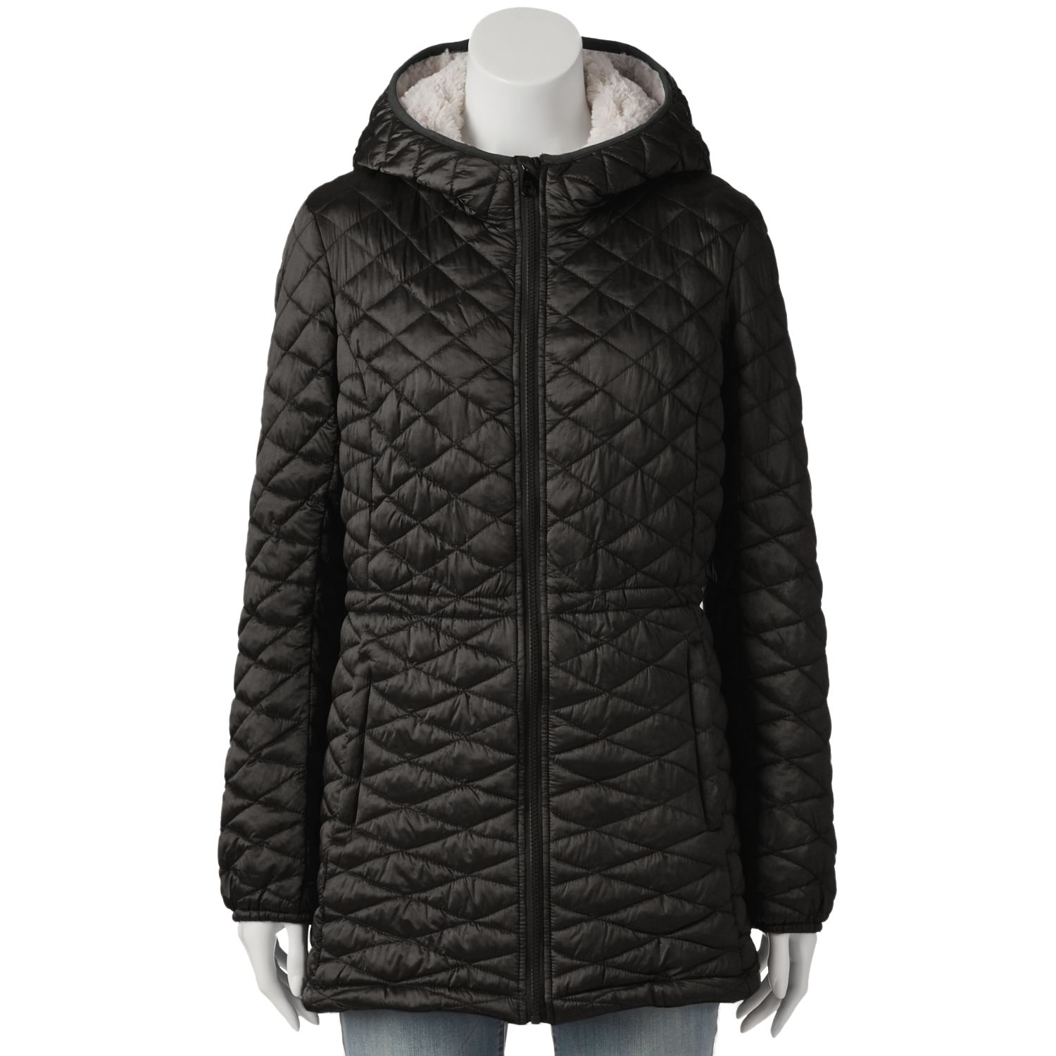 Womens Triple Star Quilted Hooded Jacket