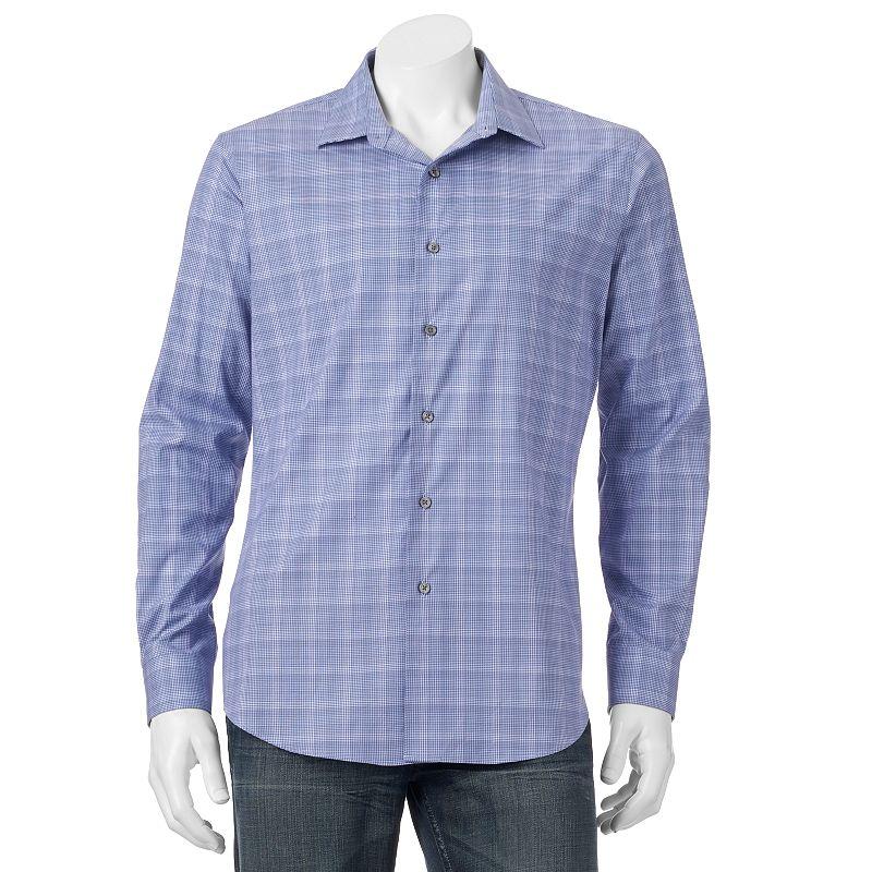 Apt. 9® Woven Checkered Modern-Fit Button-Down Shirt - Men