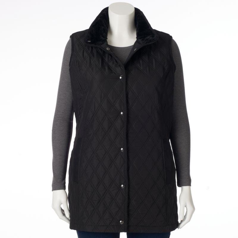 Plus Size Weathercast Long Quilted Vest, Women's, Size: 1X, Black