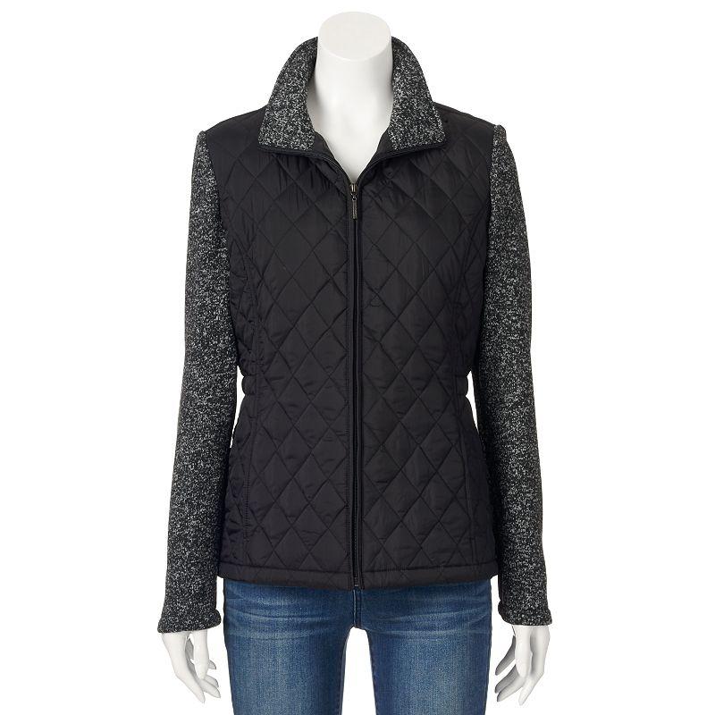 Women's Weathercast Quilted Sweater Fleece Jacket