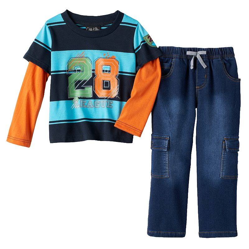 Only Kids Apparel Striped Tee & Cargo Jeans Set - Baby Boy
