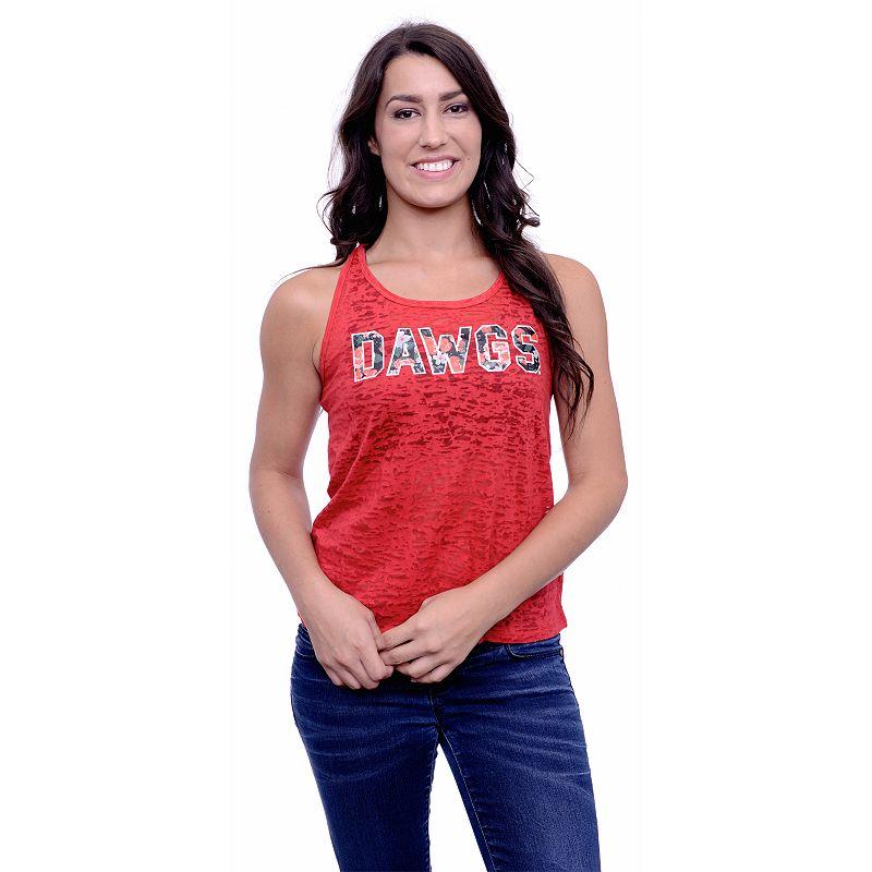 Women's Georgia Bulldogs Burnout Floral Tank Top