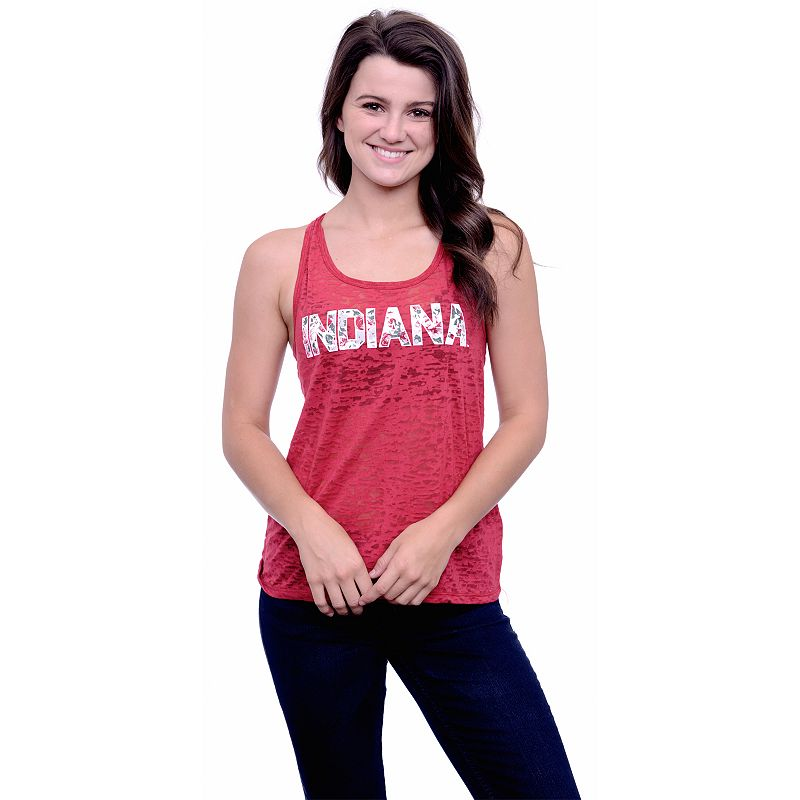 Women's Indiana Hoosiers Burnout Floral Tank Top