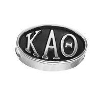 LogoArt Kappa Alpha Theta Sterling Silver Oval Bead