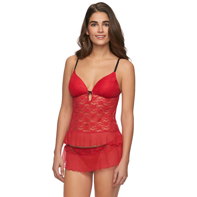Women's Apt. 9® Floral Lace Babydoll & Skirted Thong Lingerie Set