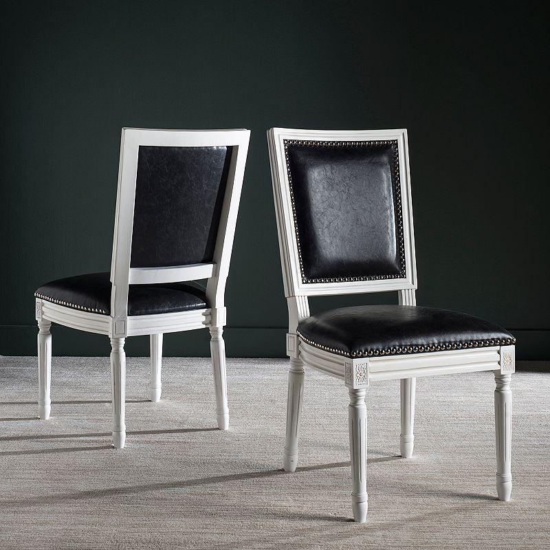 Safavieh Buchanon Faux Leather Rectangular Side Chair 2-Piece Set