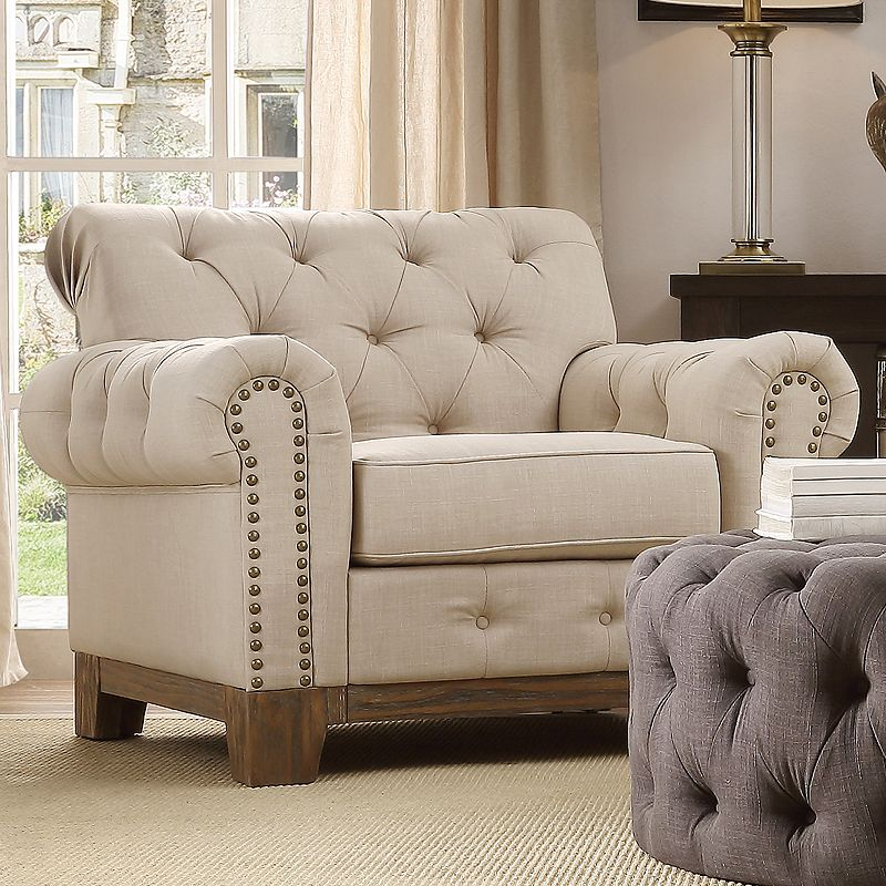 HomeVance Townsend Button Tufted Arm Chair
