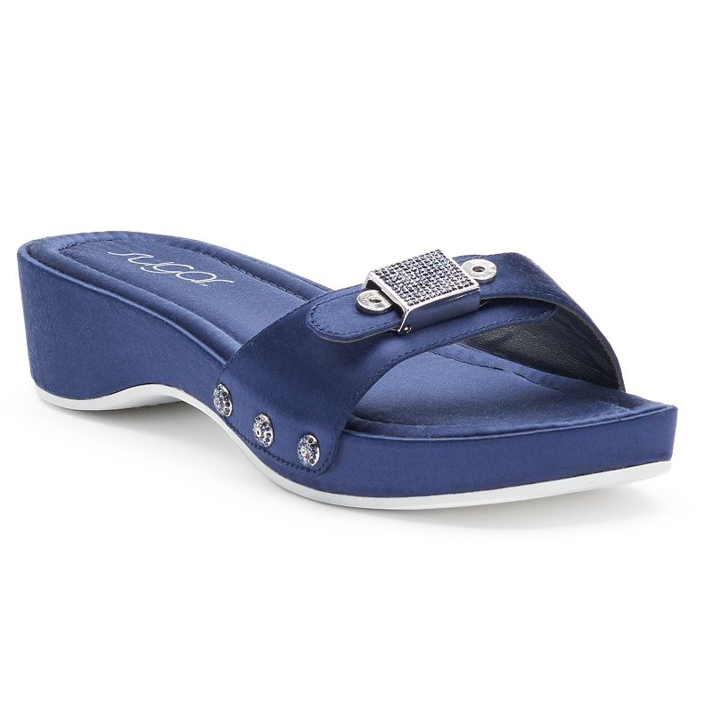 sugar Reya Women's Embellished Wedge Slide Sandals