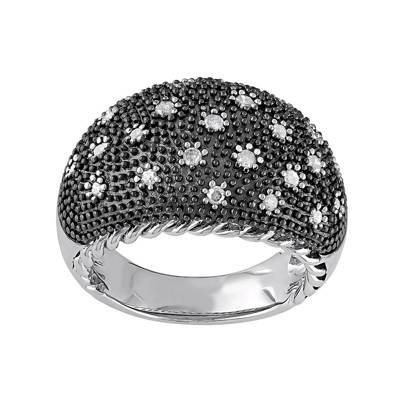 1/3 Carat T.W. Diamond Black Rhodium-Plated Sterling Silver Dome Ring