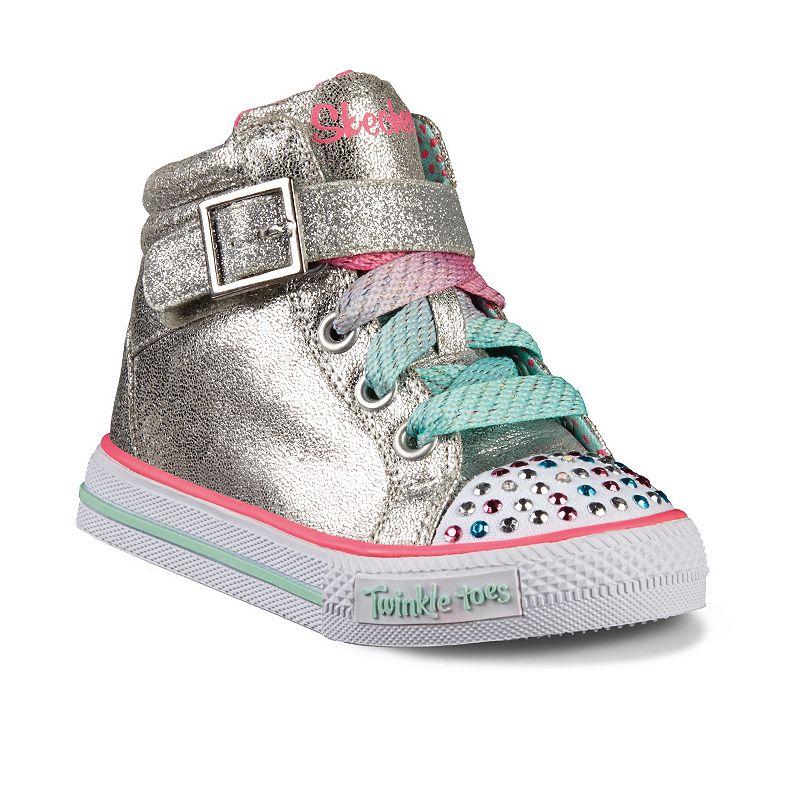 Skechers Twinkle Toes Shuffles Heart N Sole Toddler Girls' Light-Up High-Top Sneakers