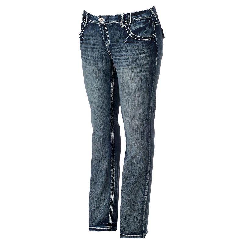 Juniors' Plus Size Amethyst 5-Pocket Slim Bootcut Jeans