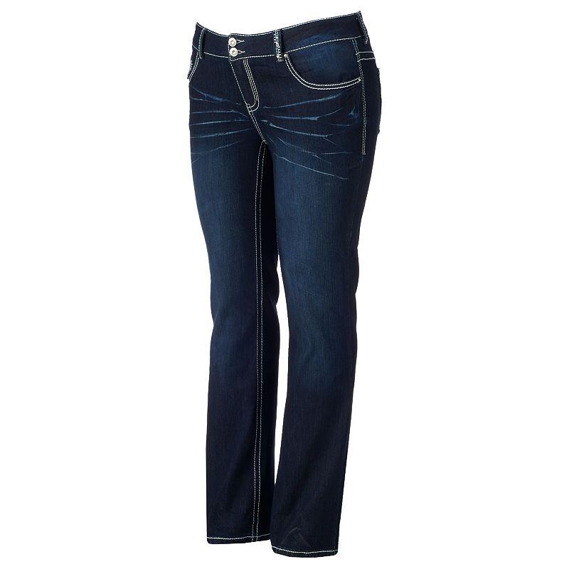 Juniors' Plus Size Amethyst 5-Pocket Bootcut Jeans