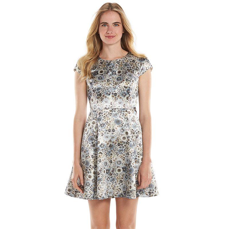 LC Lauren Conrad Floral Satin Fit & Flare Dress - Women's