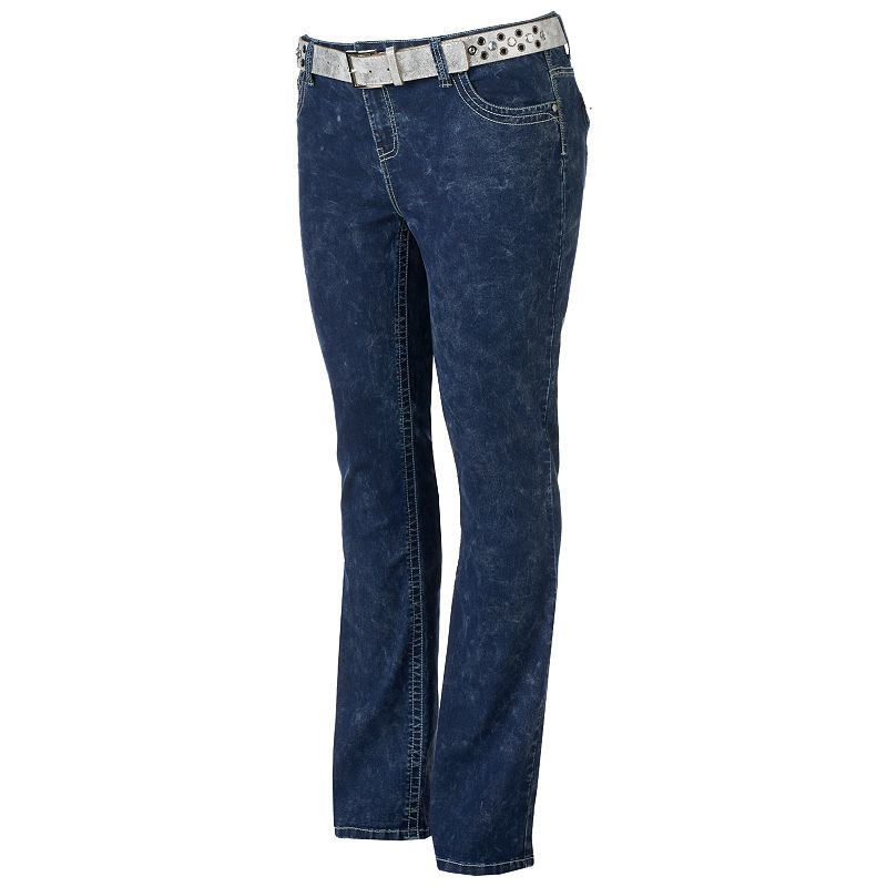 Juniors' Plus Size Almost Famous Embroidered Belted Bootcut Jeans