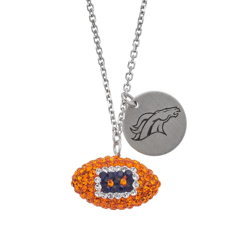 Denver Broncos Crystal Sterling Silver Team Logo & Football Charm Necklace
