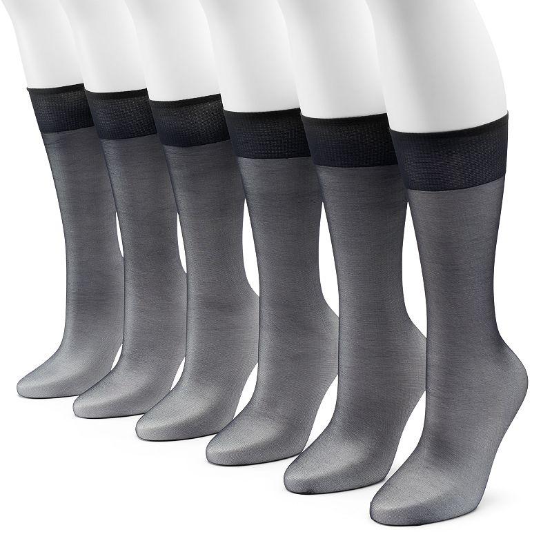 Hanes Silk Reflections 6-pk. Knee-High Pantyhose