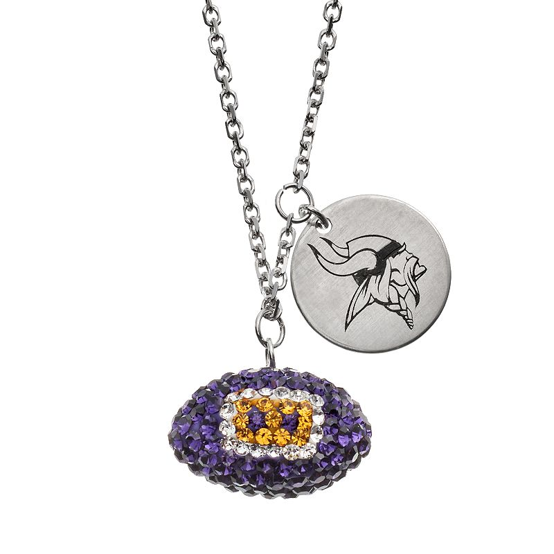 Minnesota Vikings Crystal Sterling Silver Team Logo & Football Charm Necklace