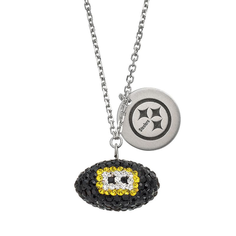 Pittsburgh Steelers Crystal Sterling Silver Team Logo & Football Charm Necklace