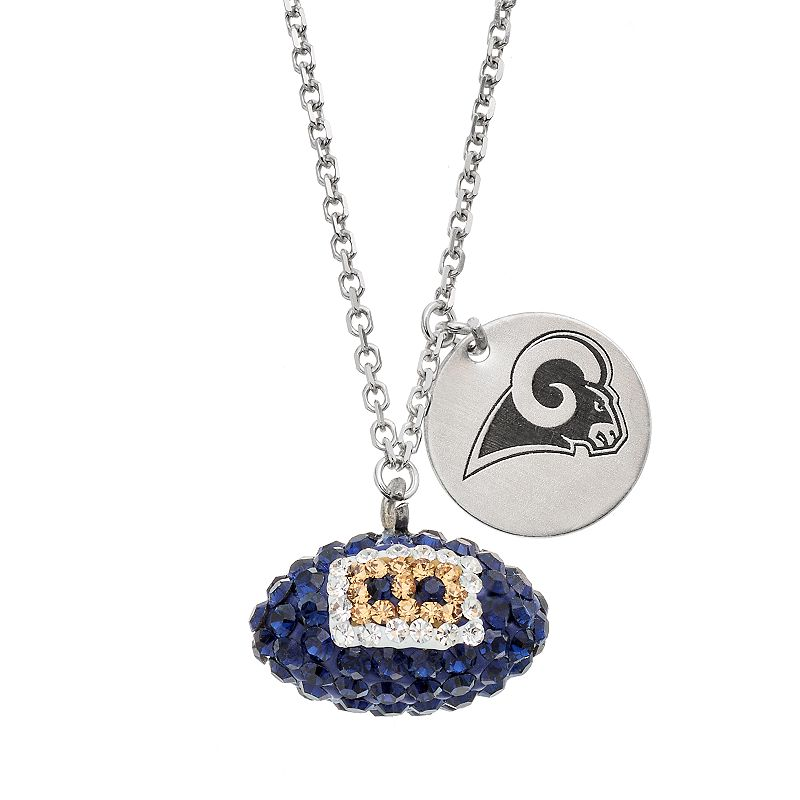 St. Louis Rams Crystal Sterling Silver Team Logo & Football Charm Necklace