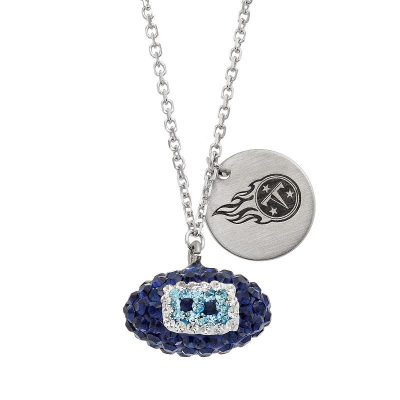 Tennessee Titans Crystal Sterling Silver Team Logo & Football Charm Necklace