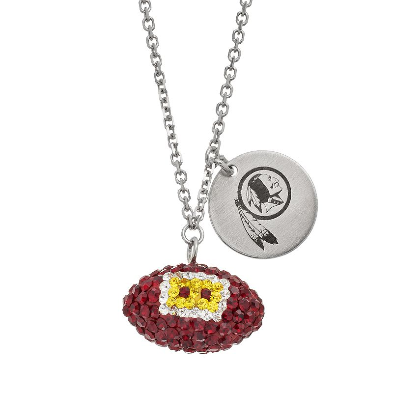 Washington Reskins Crystal Sterling Silver Team Logo & Football Charm Necklace