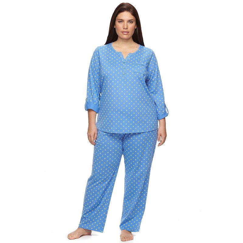 Plus Size Croft & Barrow® Pajamas: Sweet Sunrise Knit Pajama Top & Pants Set