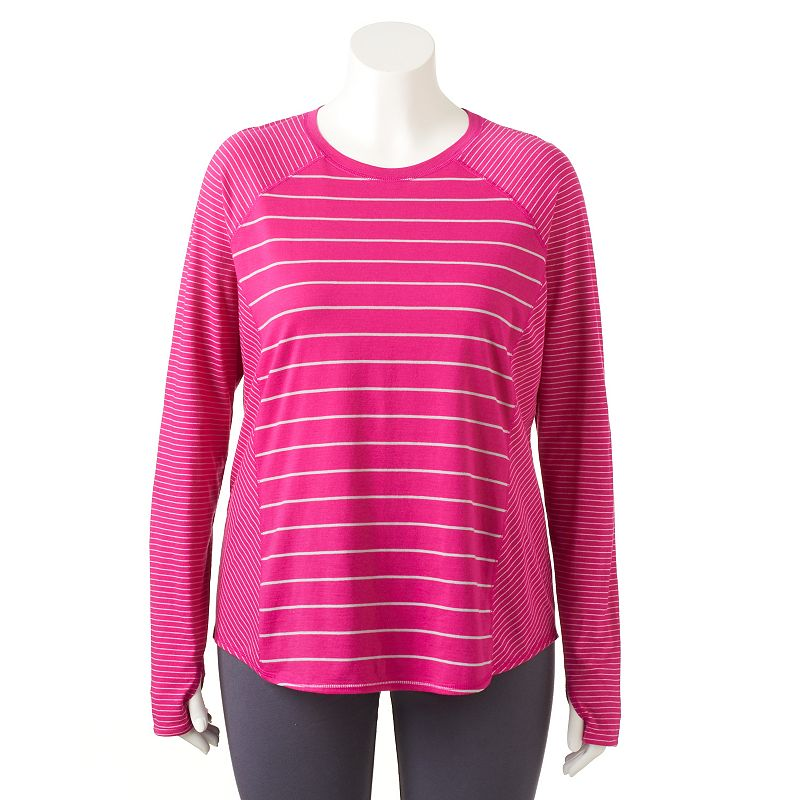 Plus Size Tek Gear® Striped Crewneck Tee